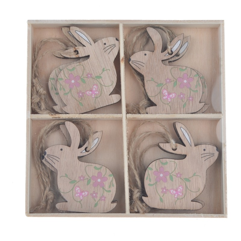 Mini rabbit decorations wooden easter hanging