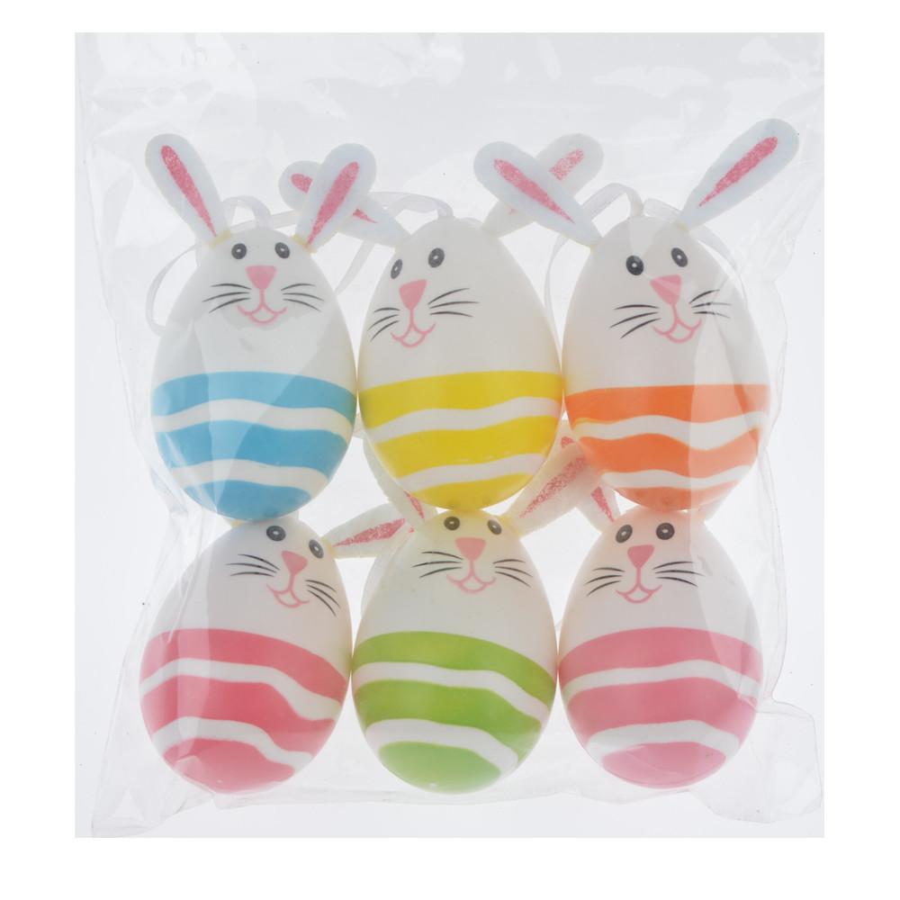 plastic colorful Easter bunny surprise eggs, interior walls, door hangings