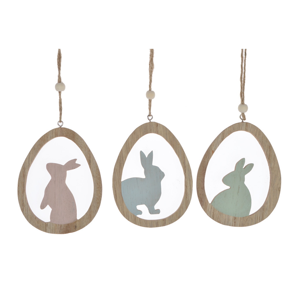 Wooden Easter egg - shaped decorative bunny hanging