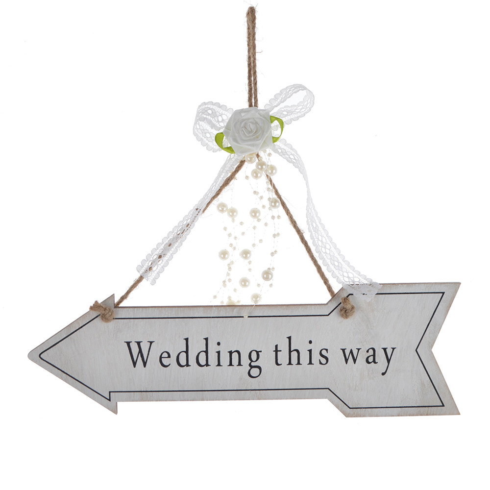 Personalized wooden country wedding instructions arrow sign