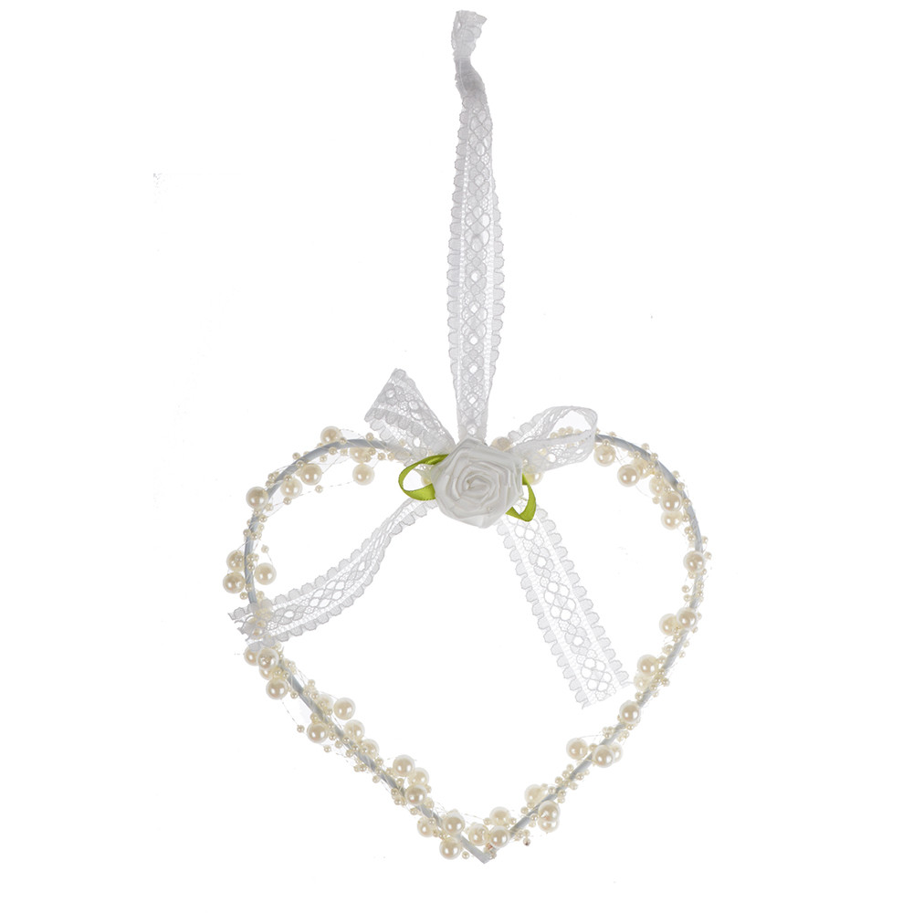 Ivory Pearl Hanging Love Heart Wreath decoration