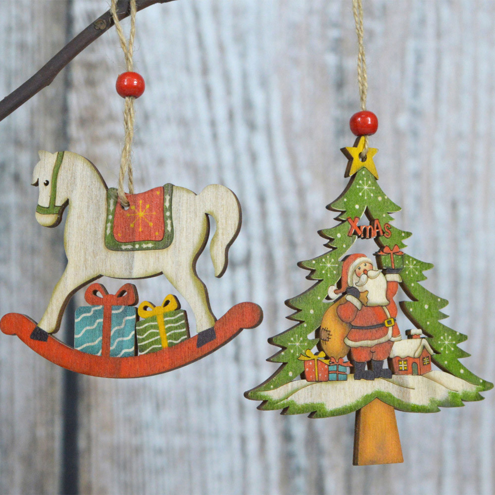 christmas decorations wooden tree horse hanging