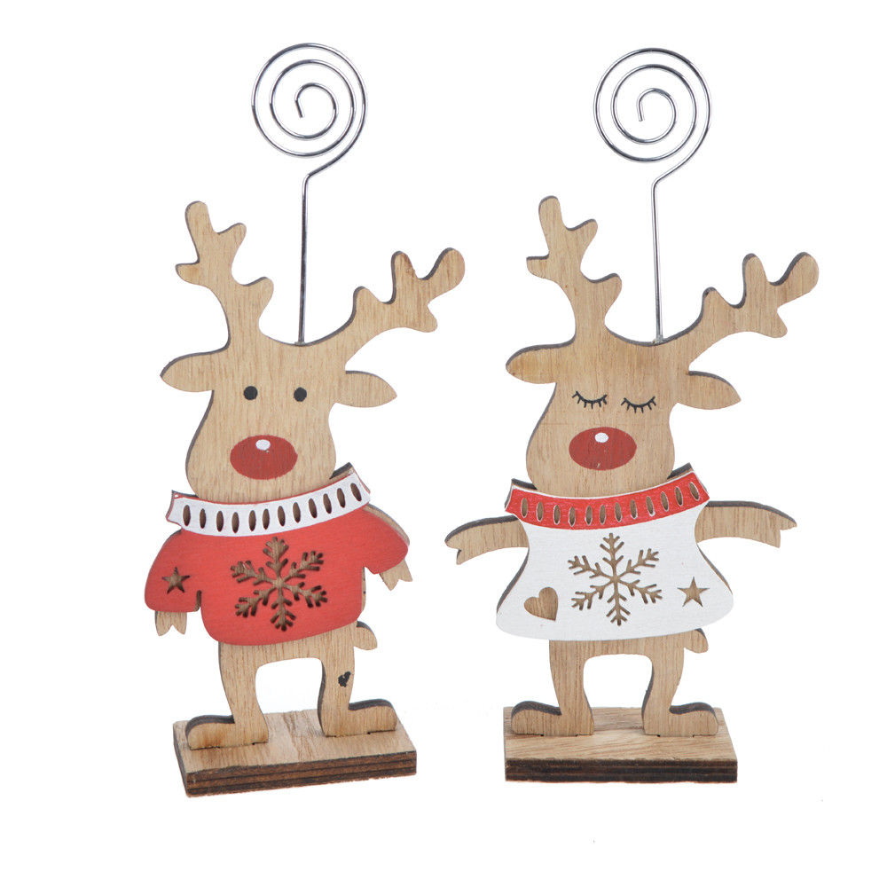 Christmas Wooden Memo Card Holder Message Folder Photo Note Clip deer