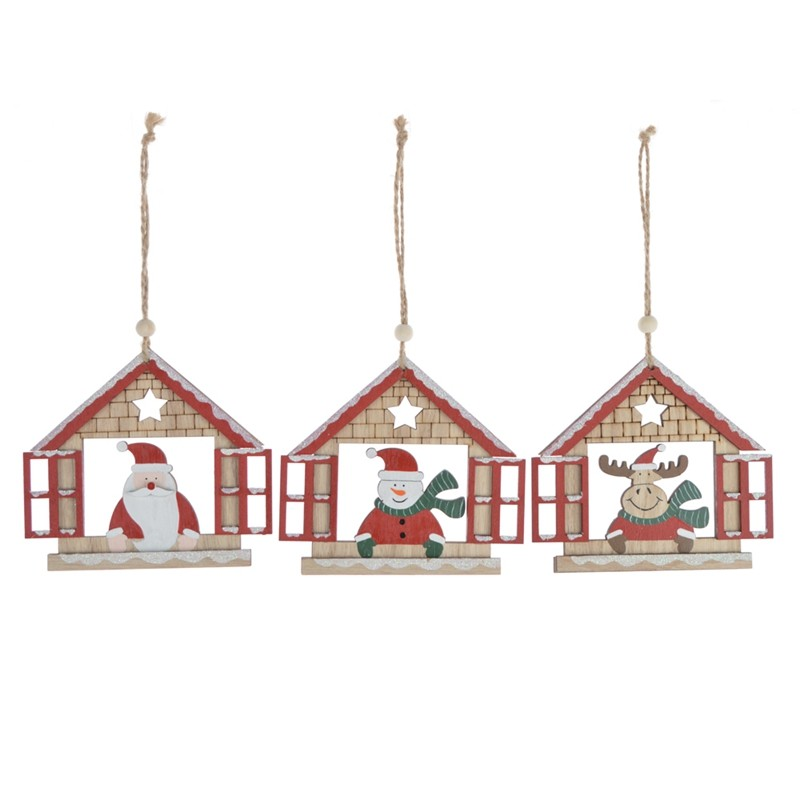 2020 promotion wooden house christmas tree hanging