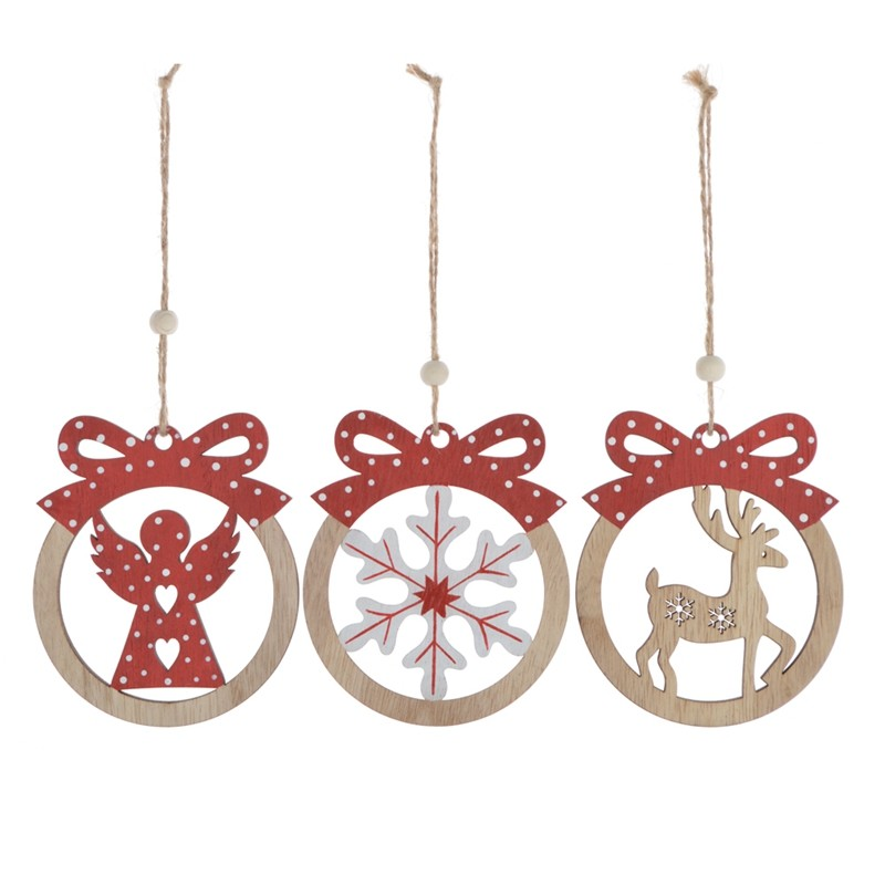 Hot sales wooden christmas giftbox hanging ornaments