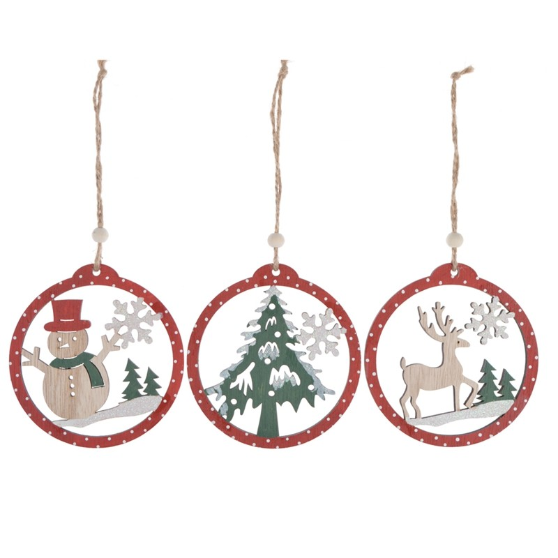 Christmas ornaments item wooden snowman hanging