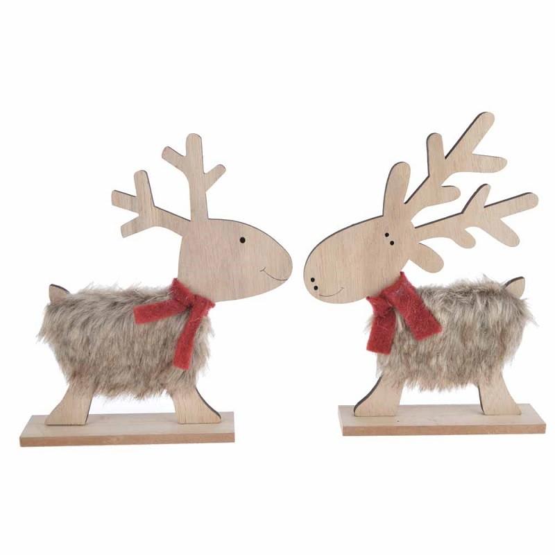winter tabletop Fuzzy Fur Reindeer christmas Decorations