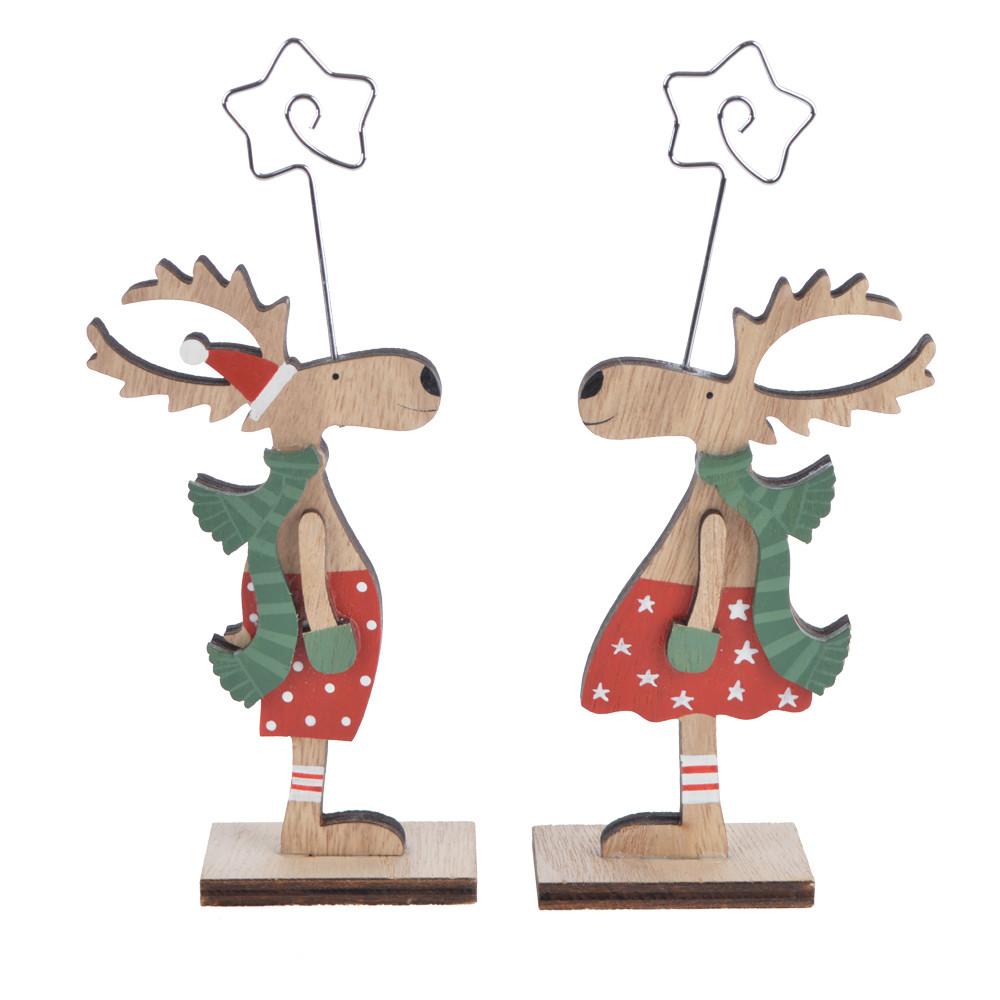 Christmas wooden deer ornament reindeer sculpture craft decoration