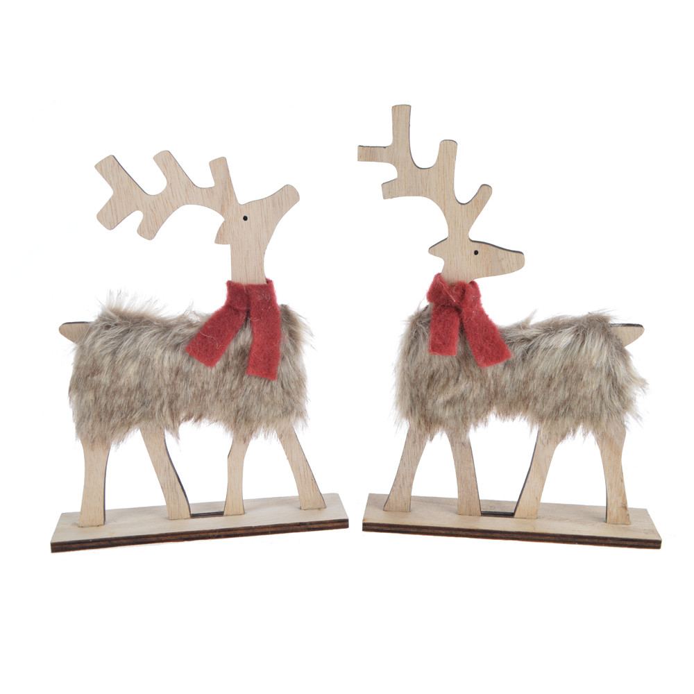 wooden standing Furry Reindeer Pom-Pom tabletop christmas Ornament