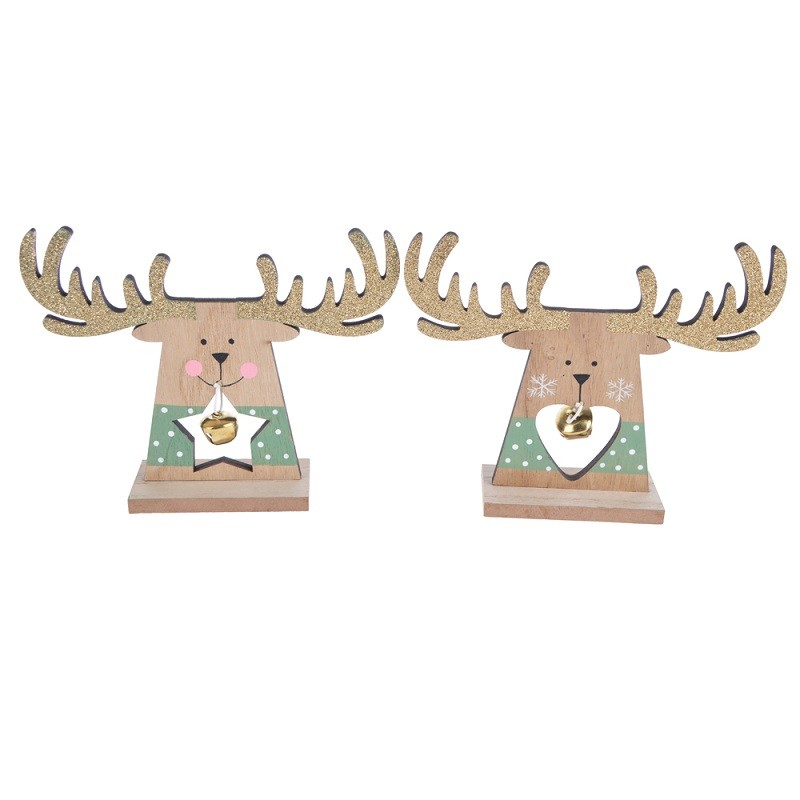 Christmas Reindeer Figurine with Tinkle Bell Wooden Christmas Tree Ornaments