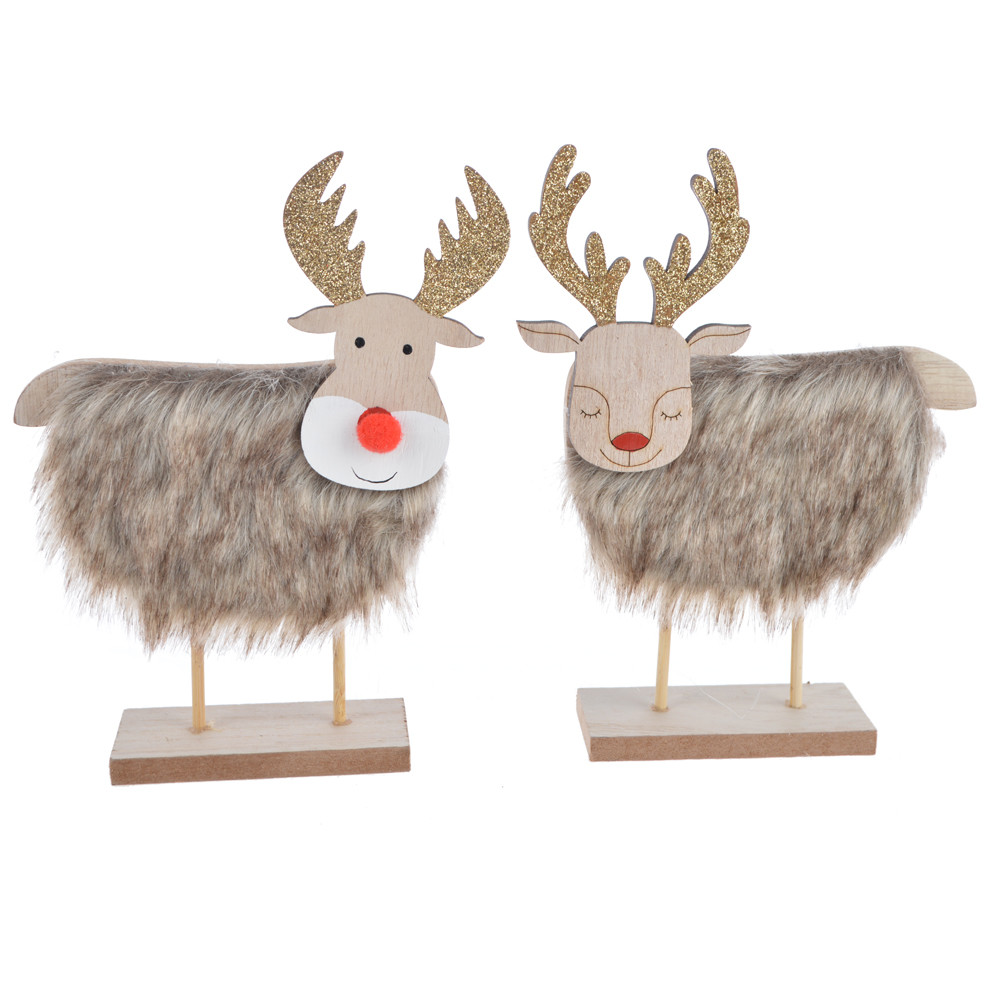 Faux Fur Bodied decor reindeer wooden deer ornament