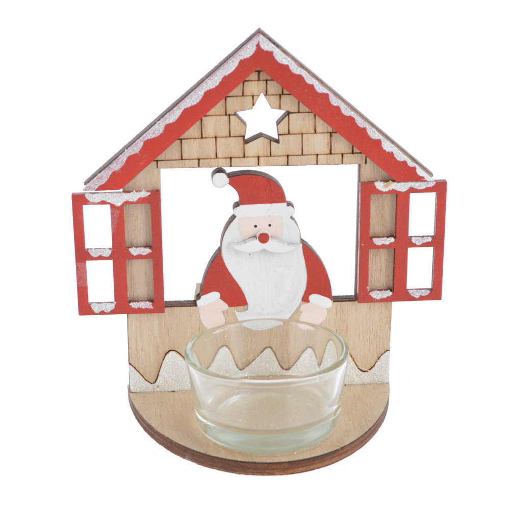wooden santa house design glass decor candle holder