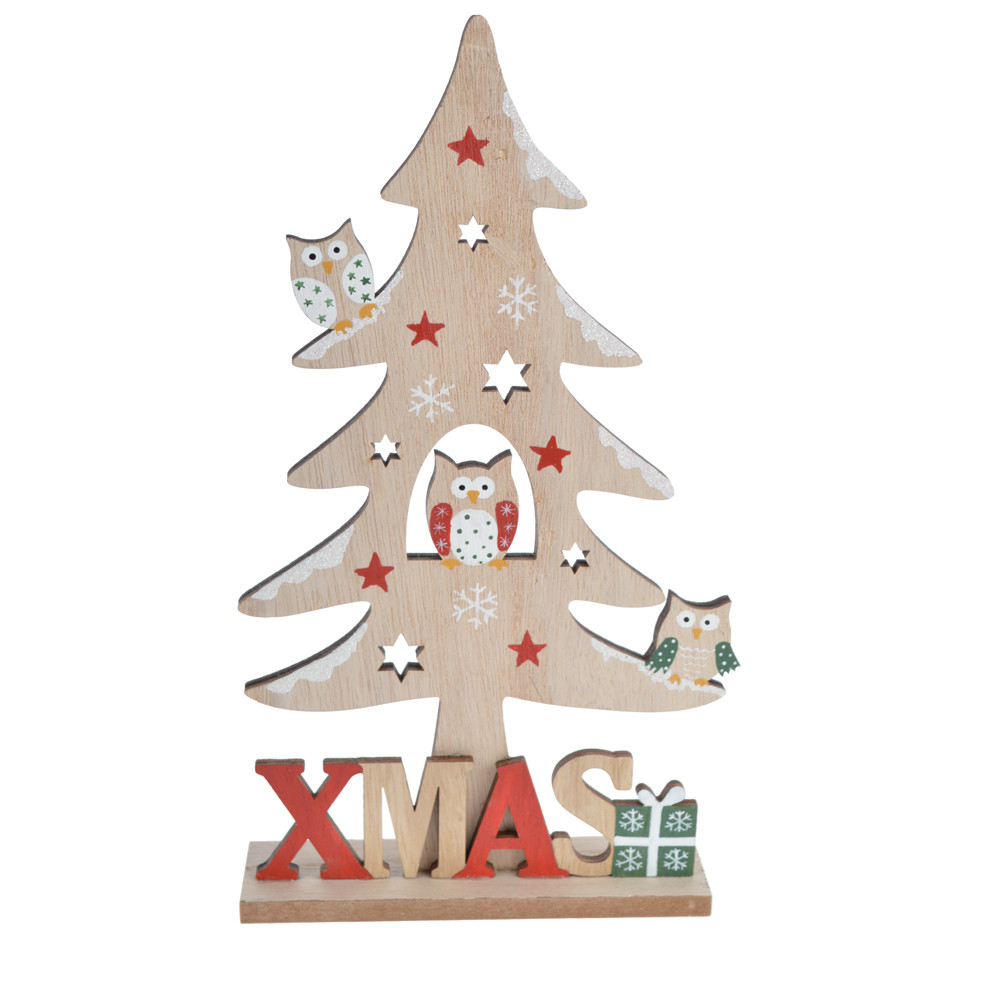 Christmas embellishments wooden tree shape Xmas craft tabletop ornament