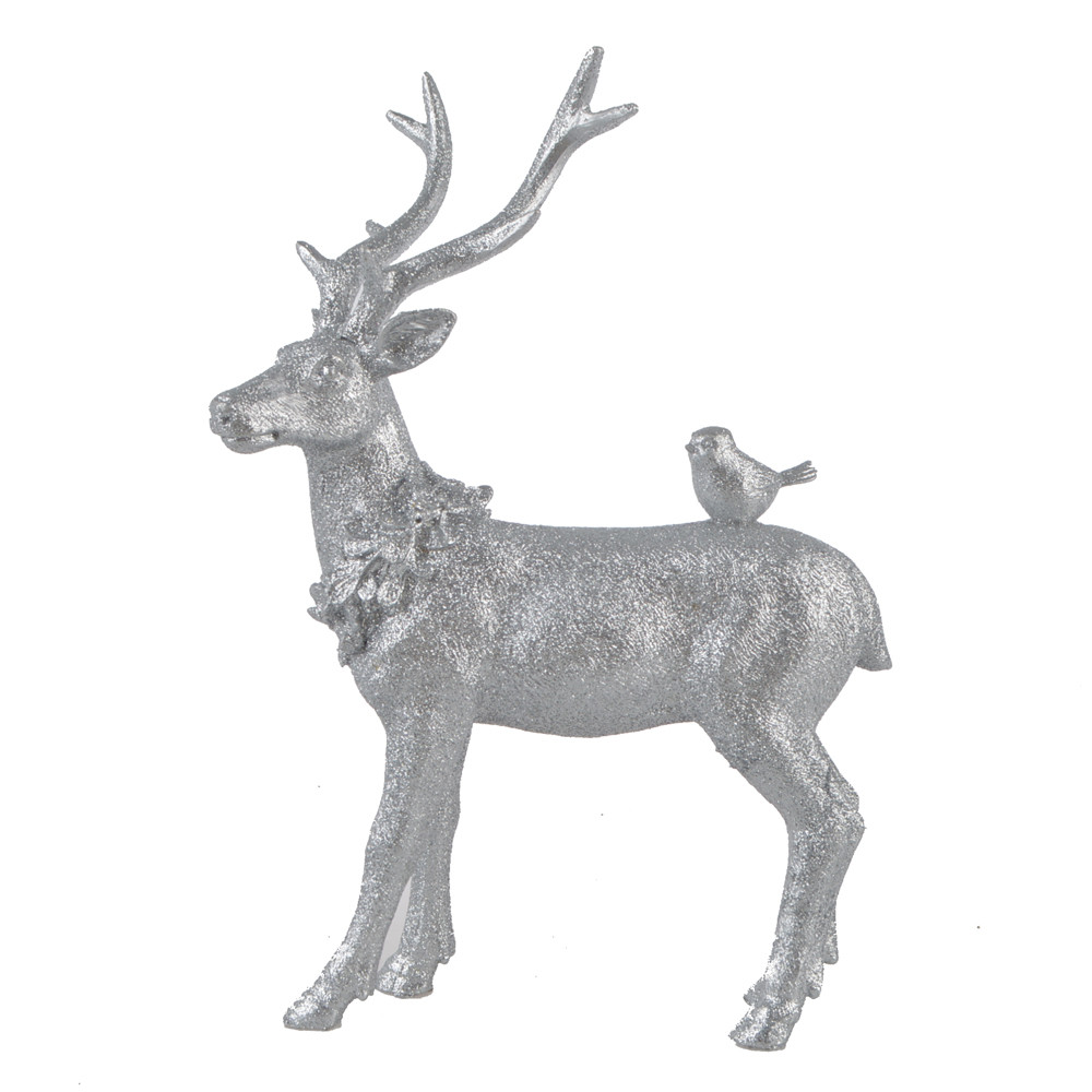 Resin Silver Station Deer Back With Bird Christmas Decorations