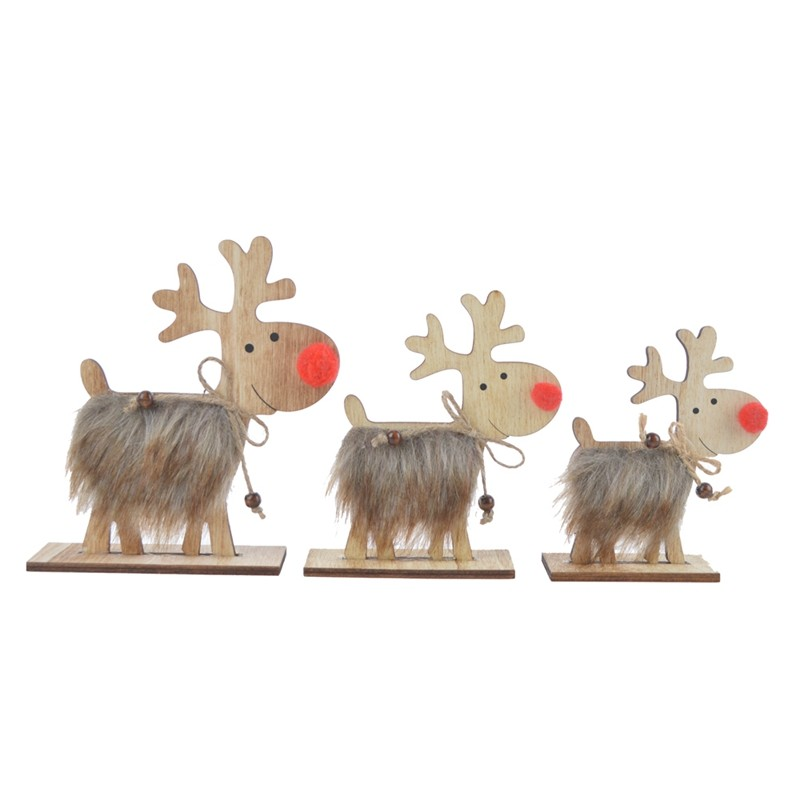 China supplies Wooden deer with wooden base home use ornaments