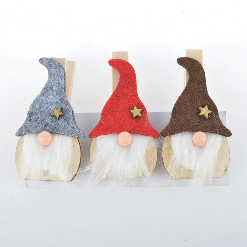 Wooden Santa gift decorative binder clips clothes pegs