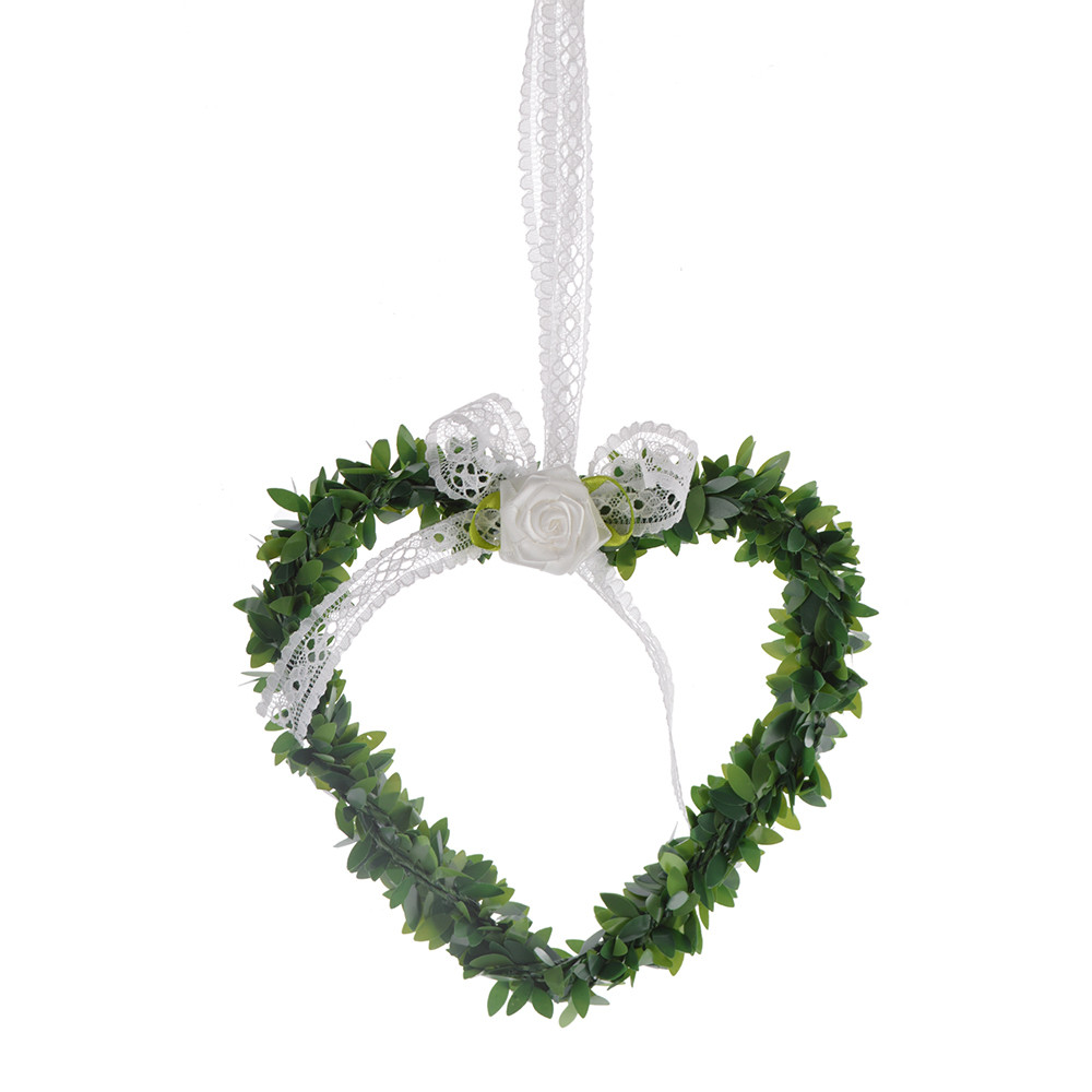 Artificial plastic flower heart pendant for country wedding decoration