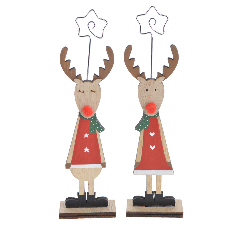 Wood Deer shape Card Holders For Weddings, Christmas,Banquets, Parties