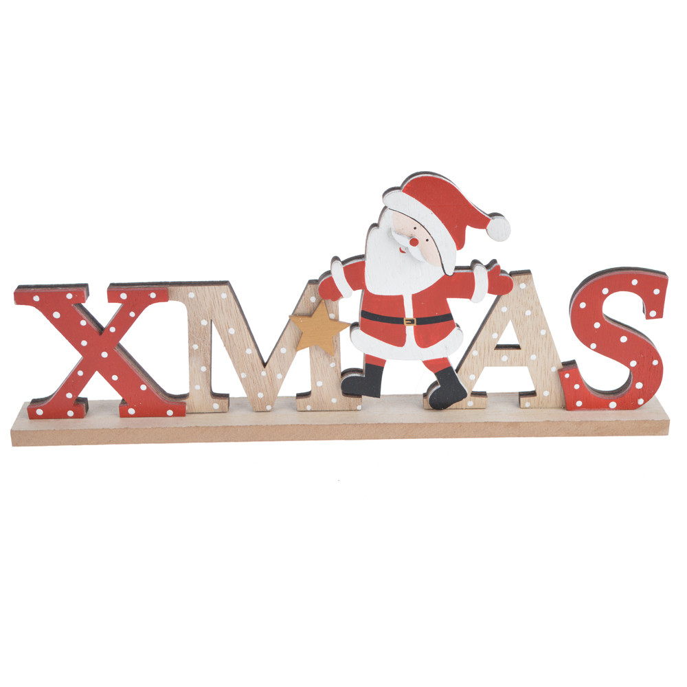 Christmas Wooden Tabletop Decoration Xmas Sign Figurine Holiday Party Table Centerpiece Gifts