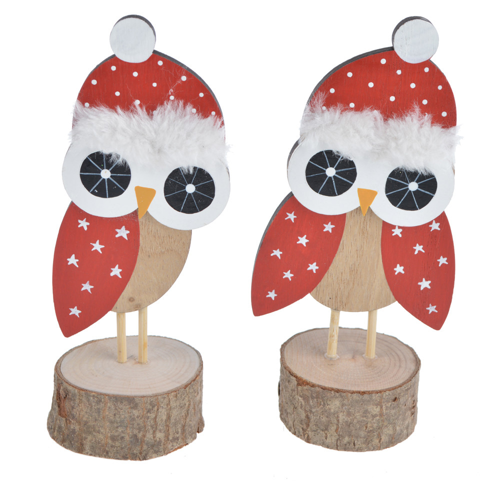 2020 new style tabletop decor cute standing red owl with hat wood base kids room gift christmas decoration
