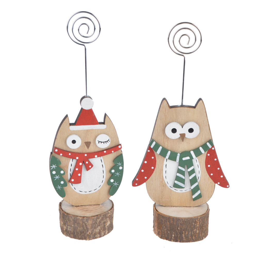 cartoon  wooden cartoon owl photo holder paper holder home party christmas decoration