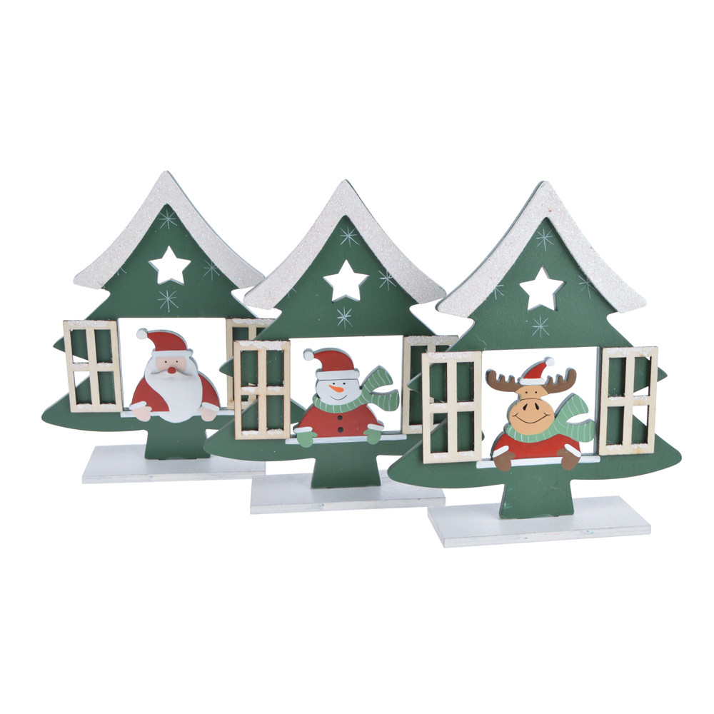 wooden christmas tree shape window santa hollow out  tabletop decoration