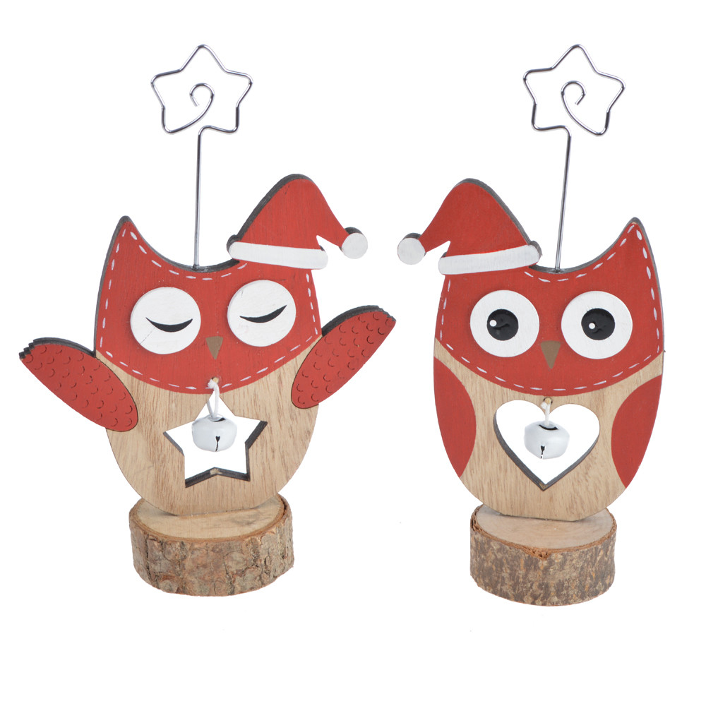 Wood Cute Owl shape Card Holder Picture Holder Table Holder