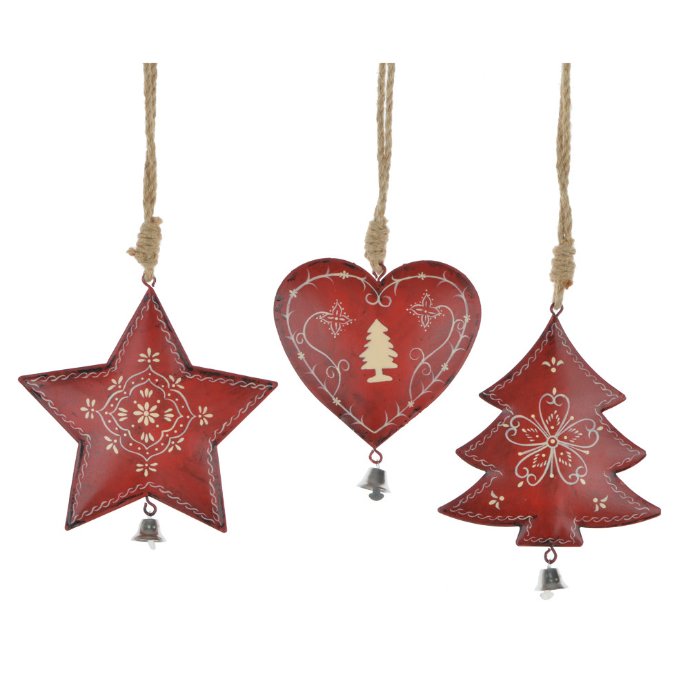 2020 new decoration christmas red color metal heart star Christmas tree hangers with jingle bells