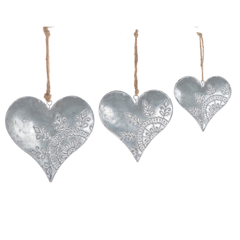 rustic small silver hanging metal heart shaped christmas ornament