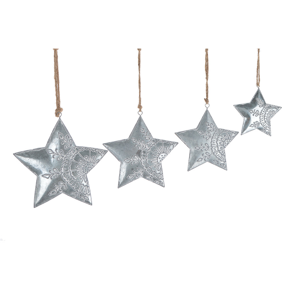 party decorations 3D winter silver color stylish bright christmas star hanging decor