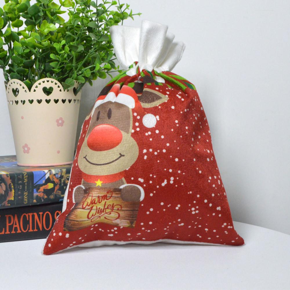 custom flannel candy gift felt storage deer bag merry christmas santa bag