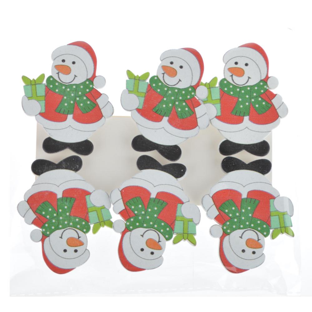 snowman design christmas ornament novelty decorating calendar wood clip