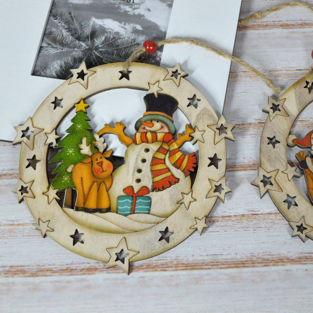 Wooden 3D Christmas santa snowman tree ball hanging Small Pendants Christmas Hanging Decor