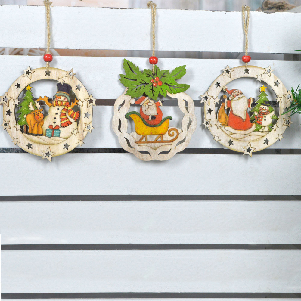 Hand painted party supplies hollowed-out wooden Christmas tree ball hanging decor