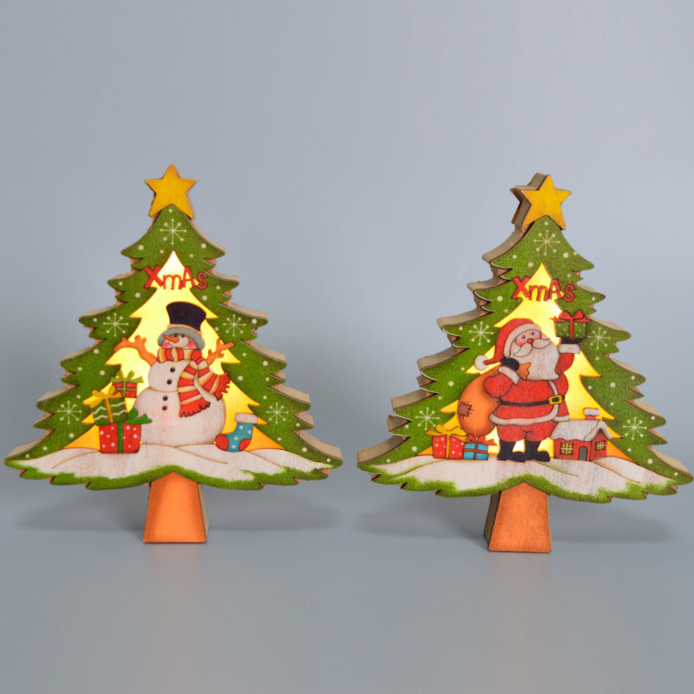 handmade new products wall decor wooden Christmas tree with led hangers decoration