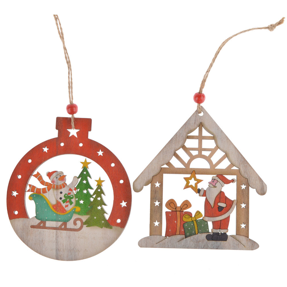 wooden toys house ball Christmas scene hangers decoration