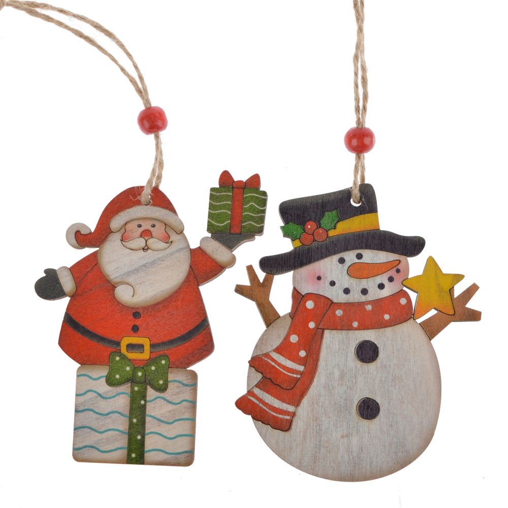 office decorations wooden christmas decor santa snowman hanging