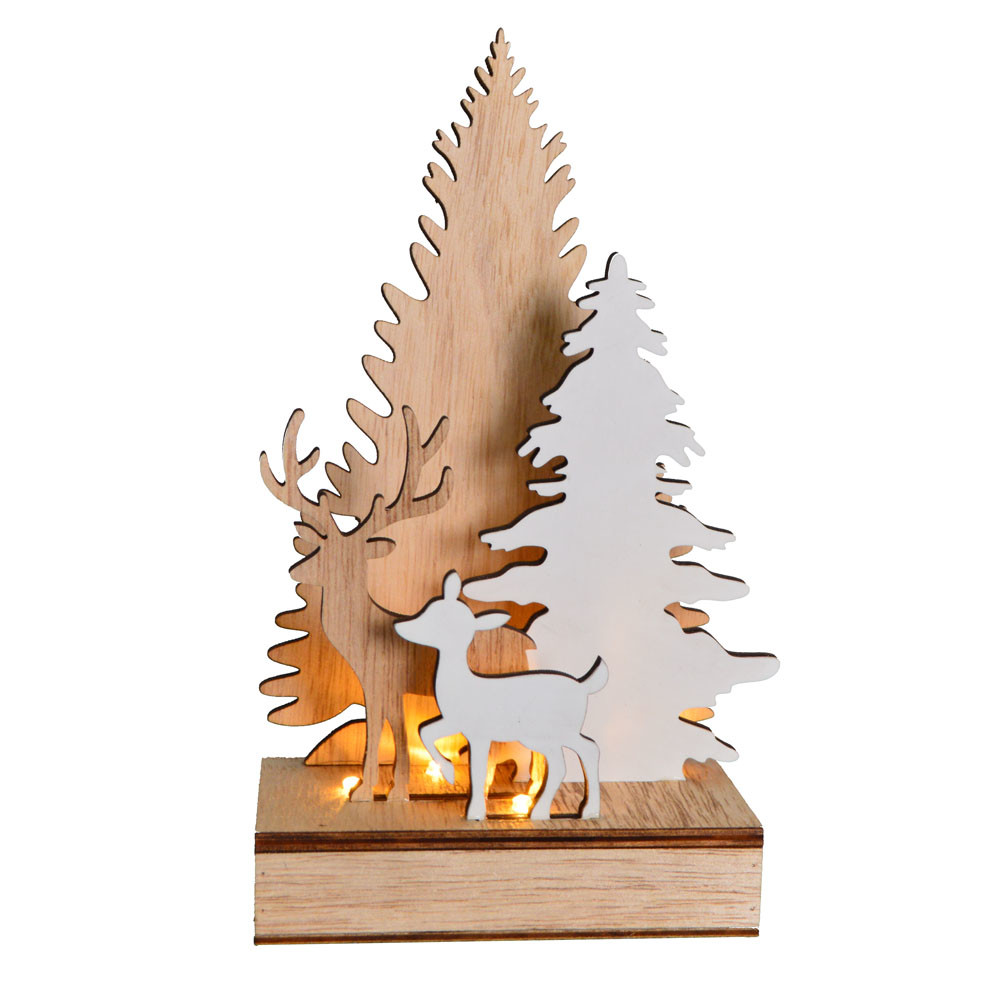 2020 new Christmas forest scene wooden elk tree statues home decor with led