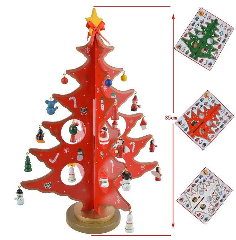 DIY Wooden Christmas Tree Decoration Christmas Gift Ornament Creative Xmas Tree Table Desk Decoration Children's Present