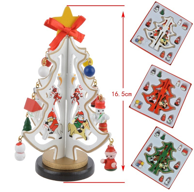 3D DIY Wood Christmas Tree with Ornament Pendant Table Desk Decoration For Children Gift Christmas New Year Party Supply