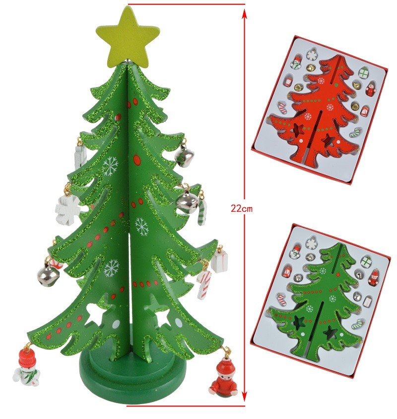 3D DIY Wooden Christmas Tree with Ornament Pendant Table Desk Decoration For Children Gift Christmas New Year Party Supply