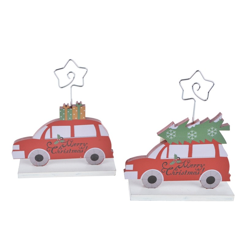 Color printing wooden christmas car note holder decorations
