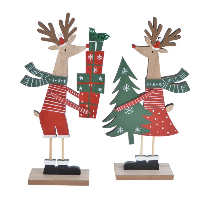 Colors wooden christmas reindeer giftbox tabletop decoration