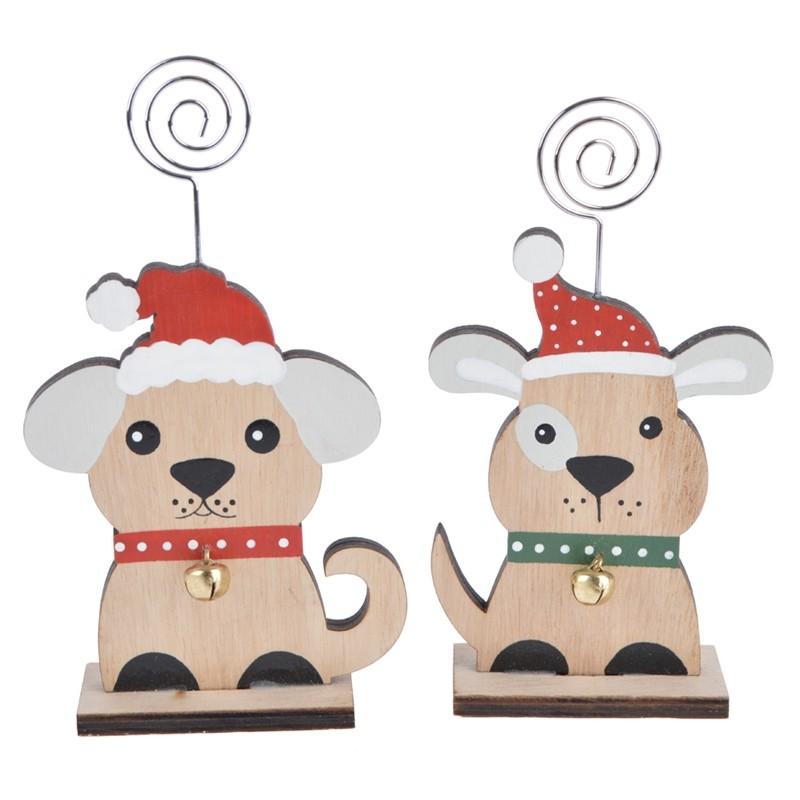 Lovely wooden cartoon dog christmas note holder
