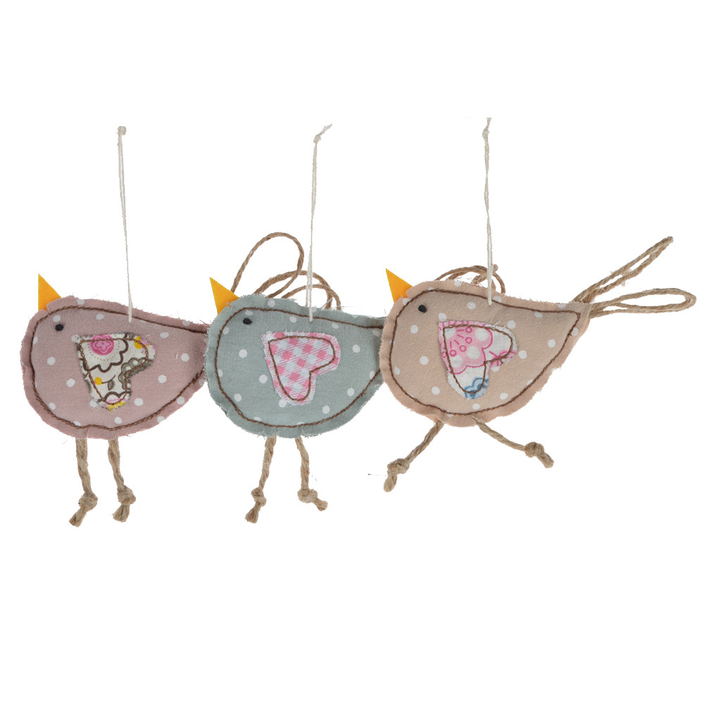fabric handmade birds shape kids favorite gifts holiday hanging ornament
