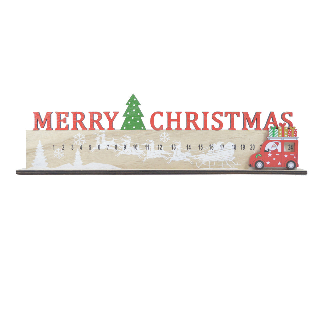 Wooden car slide along advent Countdown calendar,merry christmas party festive decoration