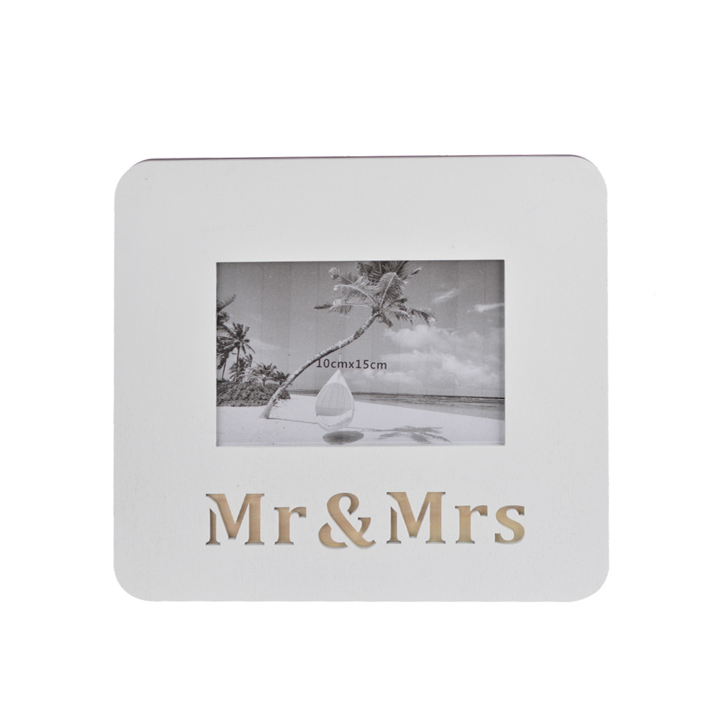 Personalized Solid white Wood Photo Frame Mr&Mrs sign Tabletop Photo Display