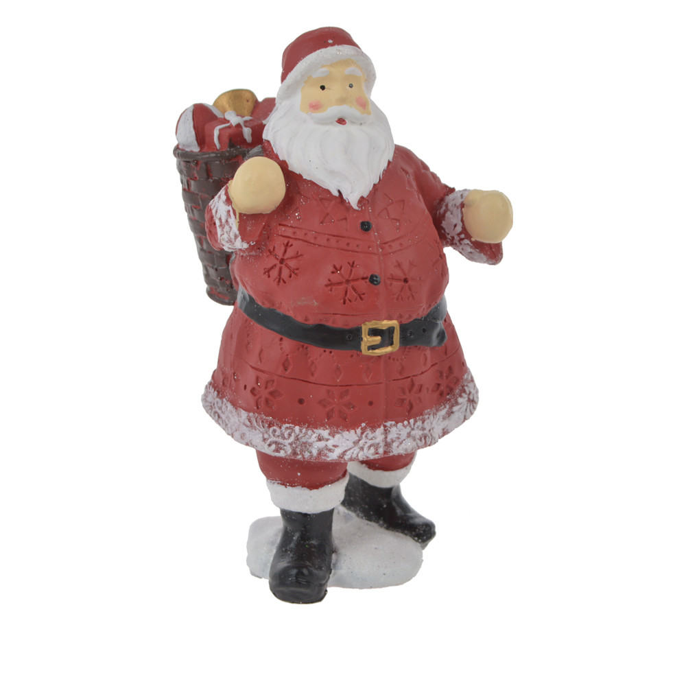 polyresin classic red santa claus white beard and his bag standing christmas table room decoration