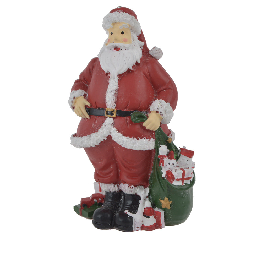polyresin classic santa claus statue with hand gift handpainted father christmas decoration