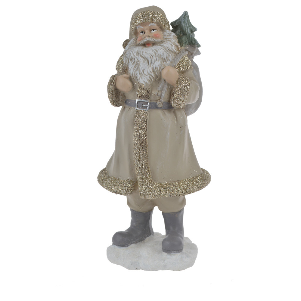 resin stone robe santa claus christmas statue with carry bag figurine festival decoration